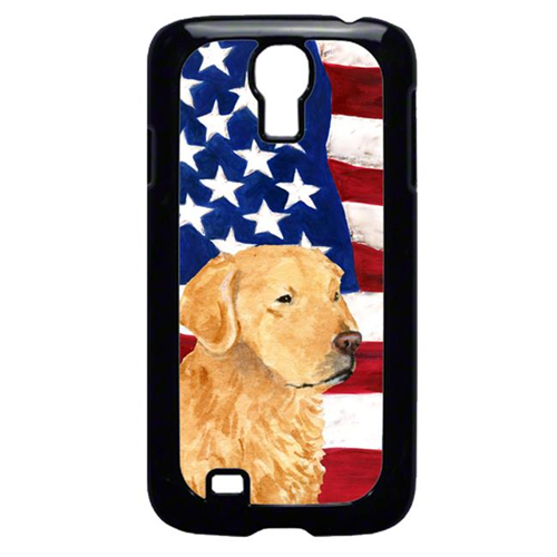 Carolines Treasures SS4055GALAXYS4 USA American Flag With Golden Retriever Galaxy S4 Cell Phone Cover