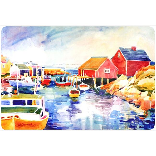 Carolines Treasures 6059MP Boats At Harbour With A View Mouse Pad Hot Pad Or Trivet