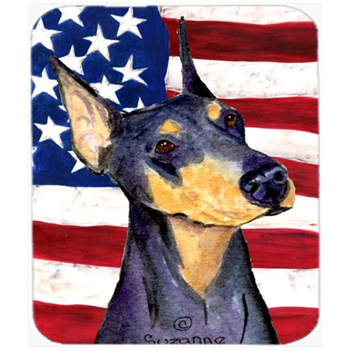 Carolines Treasures SS4022MP Usa American Flag With Doberman Mouse Pad Hot Pad Or Trivet