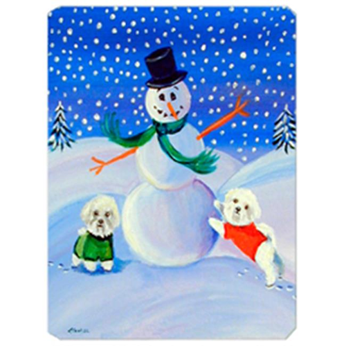 Carolines Treasures 7145MP 8 x 9.5 in. Snowman with a Bichon Frise Mouse Pad Hot Pad Or Trivet