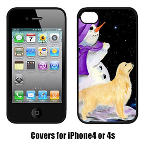 Carolines Treasures SS8950IP4 Snowman With Golden Retriever Cell Phone Cover Iphone4