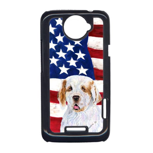Carolines Treasures SS4027HTCONE USA American Flag With Clumber Spaniel HTC One X Cell Phone Cover