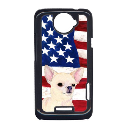 Carolines Treasures SS4228HTCONE USA American Flag With Chihuahua HTC One X Cell Phone Cover