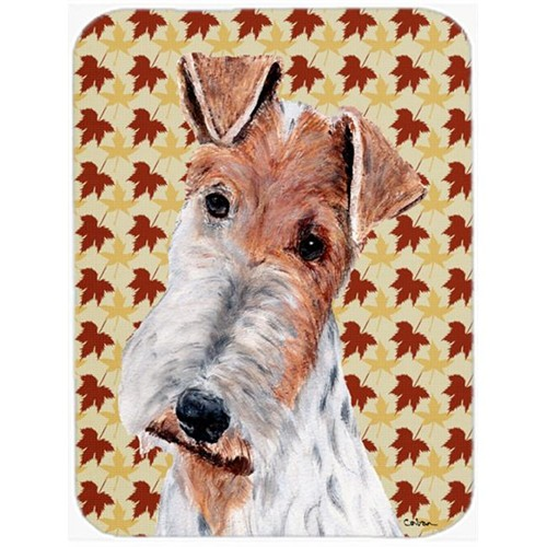 Carolines Treasures SC9676MP 7.75 x 9.25 In. Wire Fox Terrier Fall Leaves Mouse Pad Hot Pad Or Trivet