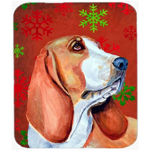 Carolines Treasures LH9332MP Basset Hound Red And Green Snowflakes Christmas Mouse Pad Hot Pad Or Trivet - 7.75 x 9.25 In.