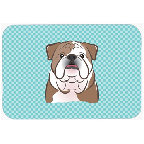 Carolines Treasures BB1157MP Checkerboard Blue English Bulldog Mouse Pad Hot Pad Or Trivet 7.75 x 9.25 In.