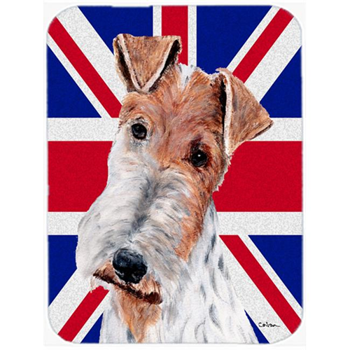 Carolines Treasures SC9887MP 7.75 x 9.25 In. Wire Fox Terrier With English Union Jack British Flag Mouse Pad Hot Pad Or Trivet
