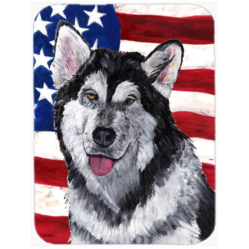 Carolines Treasures SC9497MP 7.75 x 9.25 In. Alaskan Malamute USA Patriotic American Flag Mouse Pad Hot Pad Or Trivet