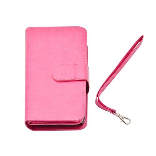 Étui portefeuille haut de gamme 2 en 1 en cuir pour Samsung Galaxy Note 5 - Rose fluo