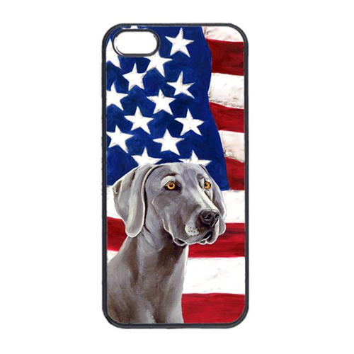 Carolines Treasures LH9001IP4 USA American Flag With Weimaraner Iphone 4 Cover