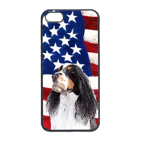 Carolines Treasures SC9016IP4 USA American Flag With Springer Spaniel Iphone 4 Cover
