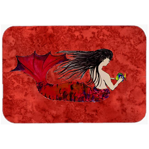 Carolines Treasures 8726MP Black Haired Mermaid On Red Mouse Pad Hot Pad & Trivet
