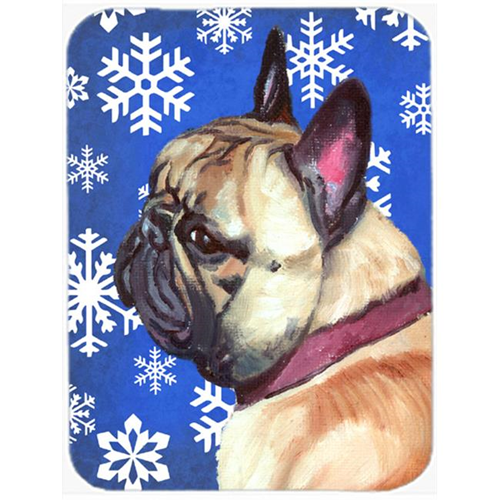 Carolines Treasures LH9587MP French Bulldog Frenchie Winter Snowflakes Holiday Mouse Pad Hot Pad & Trivet