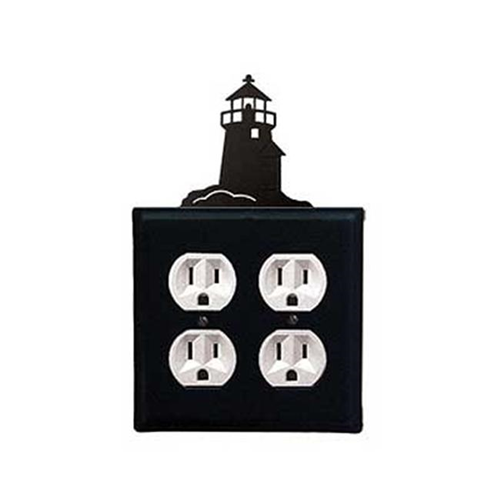 Village Wrought Iron EOO-10 Lighthouse Outlet Cover Double - Black