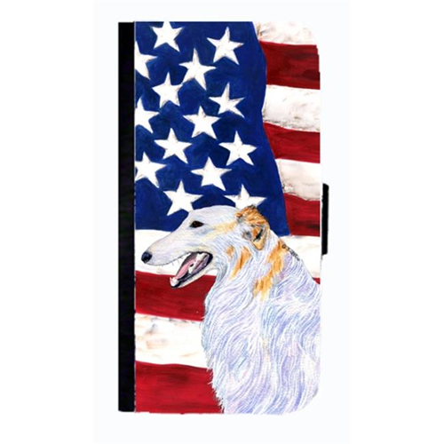 Carolines Treasures SS4231NBIP4 USA American Flag With Borzoi Cell Phonebook Case Cover For Iphone 4 Or 4S