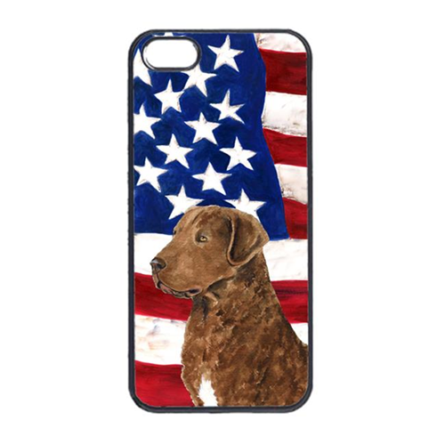 Carolines Treasures SS4016IP4 USA American Flag With Curly Coated Retriever Iphone 4 Cover