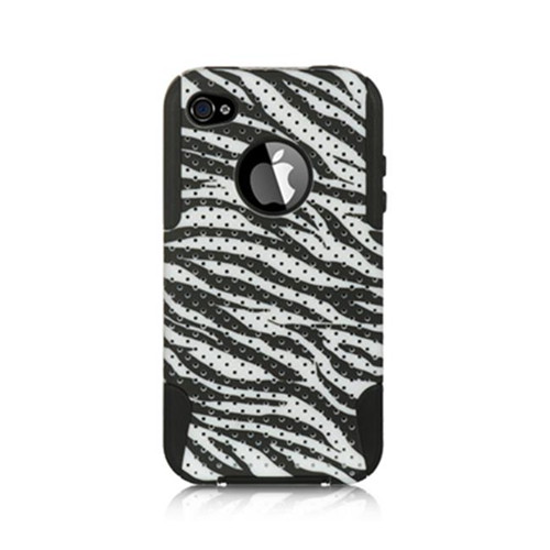 DreamWireless IP-SCRIP4VZBK-WTZA Apple iPhone 4S & 4 Compatible Hybrid Case - Leopard Black & White