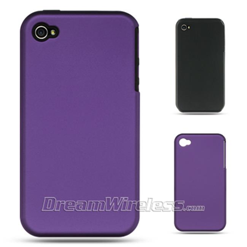 DreamWireless IP-SCRIP4VZBK-PP Apple iPhone 4S & iPhone 4 Compatible Rubber Case - Black Skin Plus Purple