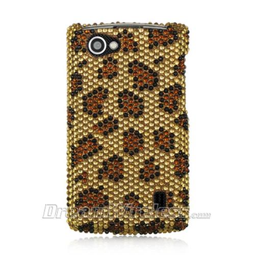 DreamWireless FDLGMS695GOLE LG Optimus M Plus Ms695 Full Diamond Case Golden Leopard