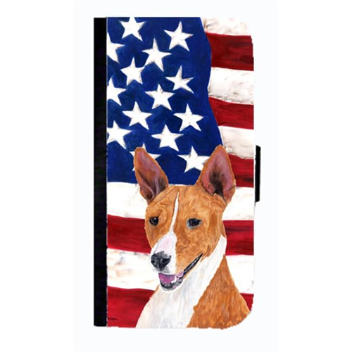 Carolines Treasures SC9033NBIP4 USA American Flag With Basenji Cell Phonebook Case Cover For Iphone 4 Or 4S