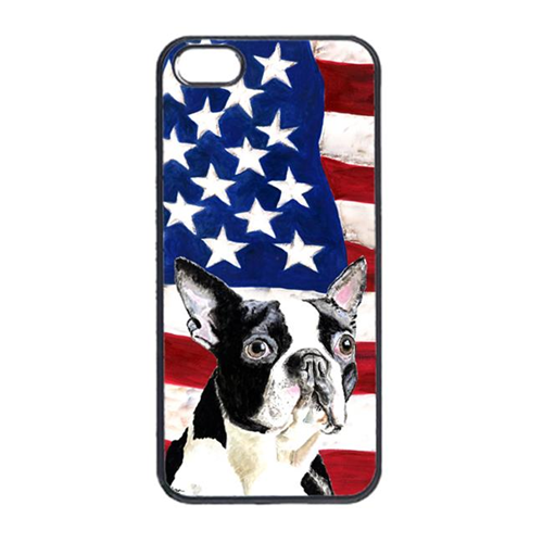 Carolines Treasures SC9001IP4 USA American Flag With Boston Terrier Iphone 4 Cover