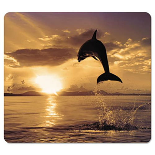 Fellowes 5913401 Recycled Mouse Pad Nonskid Base 7.5 x 9 Dolphin