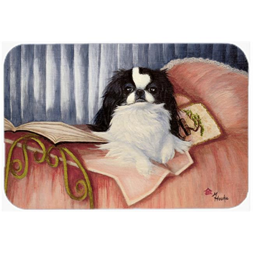 Carolines Treasures MH1058MP Japanese Chin Reading In Bed Mouse Pad Hot Pad & Trivet