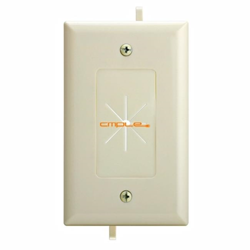 Cmple 1232-N Cable Plate with Flexible Opening 1 Gang - Lite Almond