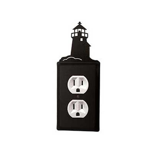 Village Wrought Iron EO-10 Lighthouse Outlet Cover-Black