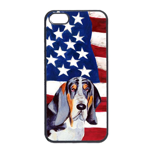 Carolines Treasures LH9014IP4 USA American Flag With Basset Hound Iphone 4 Cover