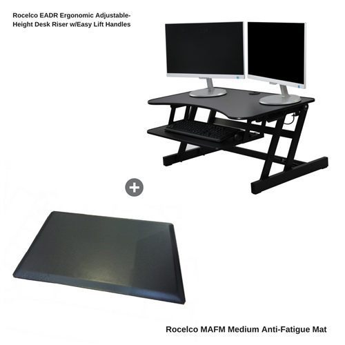 Rocelco EADR Height Adjustable Standing Desk Riser w/Easy Lift Handles and Medium Anti-Fatigue Mat Bundle (Black)