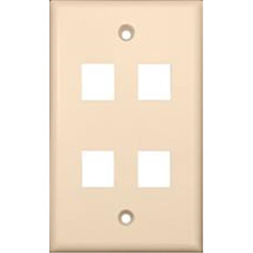 Morris Products 88188 Wallplate For Keystone Jacks And Modular Inserts Four Ports Lt. Almond