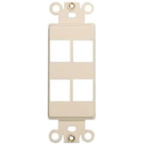 Morris Products 88128 Decorator Wallplate For Keystone Jacks And Modular Inserts Four Ports Lt. Almond