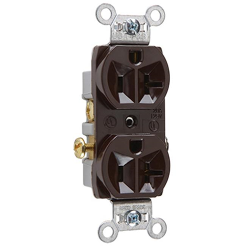 Pass & Seymour CR20CC12 20A 125V 2 Pole 3 Wire Grounding Heavy Duty Duplex Outlet Brown