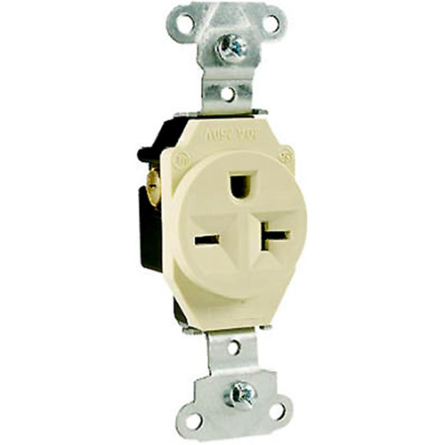 Pass & Seymour 5851ICC8 Heavy Duty Single Outlet 20A Ivory