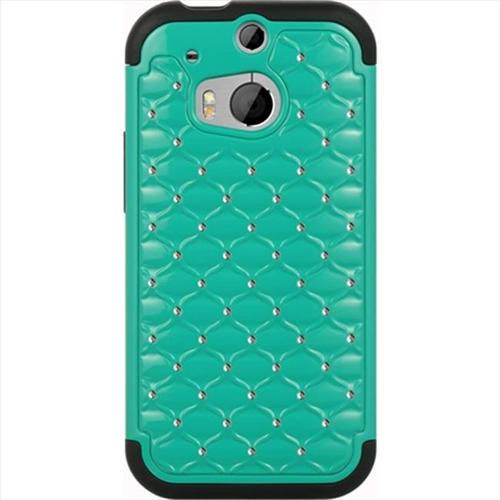 DreamWireless SCAHTCM8STDCKBK-GR HTC One 2 M8 Hybrid Studded Diamond Case Black Skin Plus Green PC