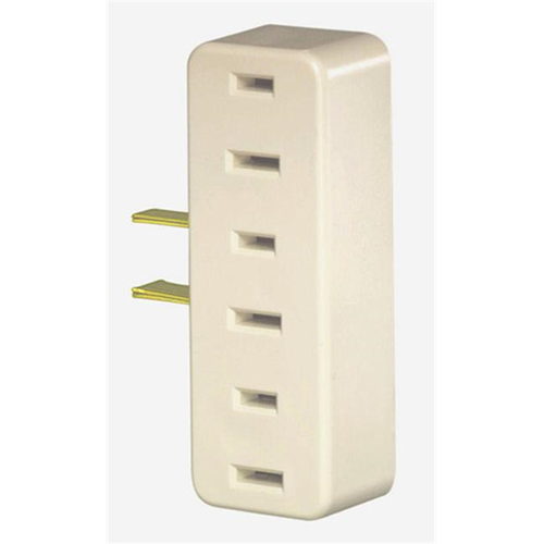 Leviton Ivory Triple Tap Plug-In Outlet Adapter L01-65-I