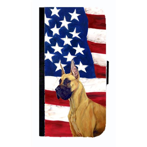 Carolines Treasures LH9025NBGALAXYS4 USA American Flag With Great Dane Cell Phonebook Case Cover For Galaxy 4S