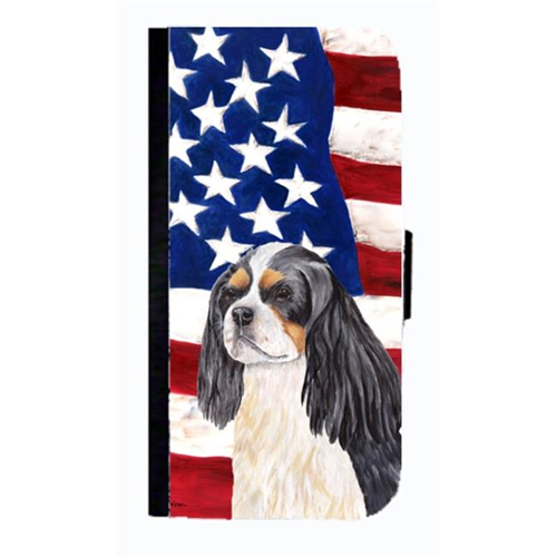 Carolines Treasures SC9114NBGALAXYS4 USA American Flag Cavalier Spaniel Cell Phone Case Cover For Galaxy 4S