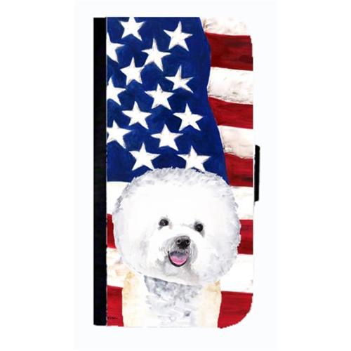 Carolines Treasures SC9014NBGALAXYS4 USA American Flag With Bichon Frise Cell Phonebook Case Cover For Galaxy 4S