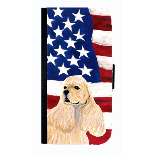 Carolines Treasures SS4006NBGALAXYS4 USA American Flag With Cocker Spaniel Cell Phonebook Case Cover For Galaxy 4S