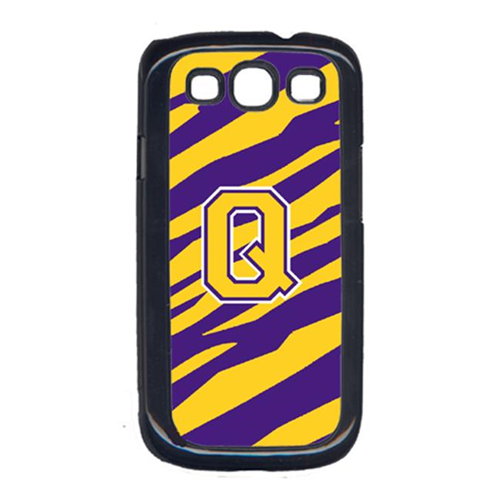 Carolines Treasures CJ1022-Q-GALAXYSIII Tiger Stripe - Purple Gold Letter Q Monogram Initial Galaxy S111 Cell Phone Cover