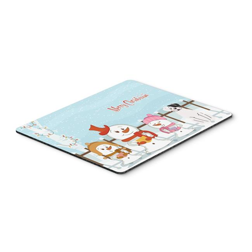 Carolines Treasures BB2445MP Merry Christmas Carolers White Boxer Cooper Mouse Pad Hot Pad or Trivet