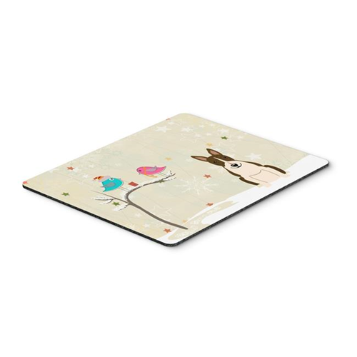Carolines Treasures BB2608MP Christmas Presents Between Friends Bull Terrier Dark Brindle Mouse Pad Hot Pad or Trivet