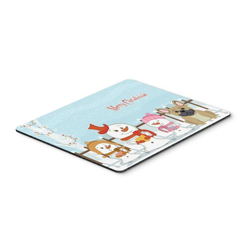 Carolines Treasures BB2341MP Merry Christmas Carolers French Bulldog Cream Mouse Pad Hot Pad or Trivet