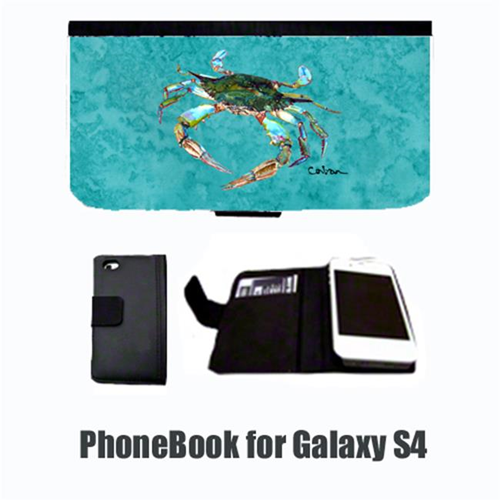 Carolines Treasures 8657-NBGALAXYS4 Crab on teal Cell Phonebook Cell Phone case Cover for GALAXY 4S