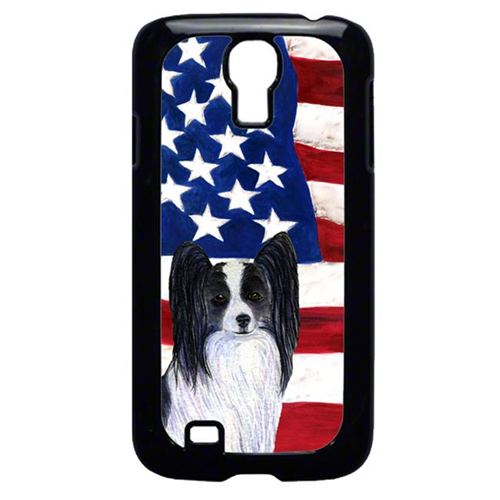 Carolines Treasures SS4032GALAXYS4 USA American Flag with Papillon Cell Phone Cover GALAXY S4