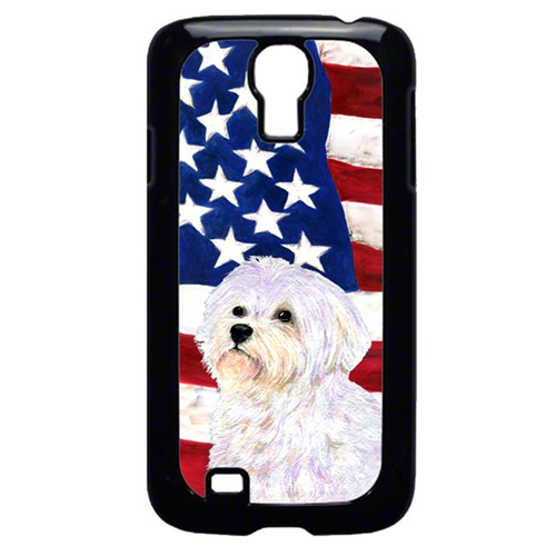 Carolines Treasures SS4043GALAXYS4 USA American Flag With Maltese Galaxy S4 Cell Phone Cover