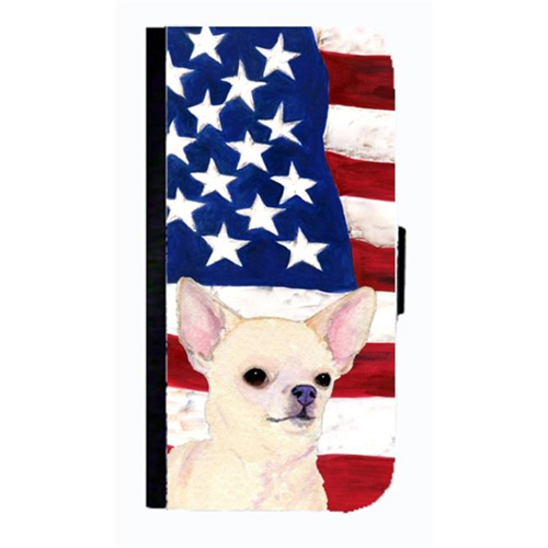 Carolines Treasures SS4228NBGALAXYS4 USA American Flag With Chihuahua Cell Phonebook Case Cover For Galaxy 4S