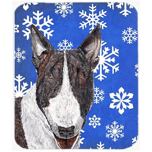 Carolines Treasures SC9603MP 7.75 x 9.25 in. Bull Terrier Blue Snowflake Winter Mouse Pad Hot Pad or Trivet